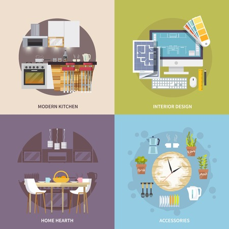 Kitchen furniture design concept set with modern interior accessories flat icons isolated vector illustration Vector