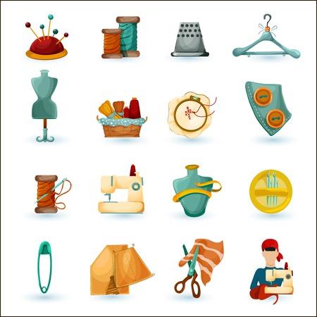 maquinas de coser: Sastrer�a de costura y costura iconos decorativos aislados conjunto ilustraci�n vectorial
