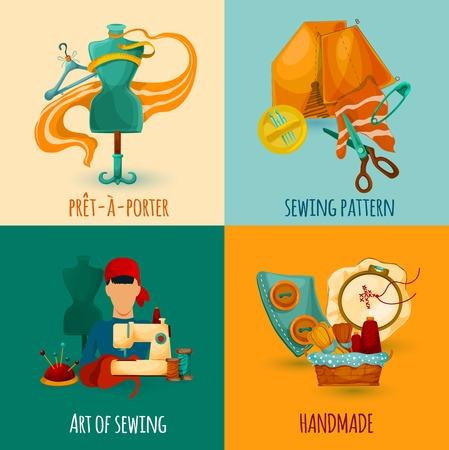 kit de costura: Coser concepto de diseño conjunto con iconos de arte hechas a mano ilustración vectorial aislado