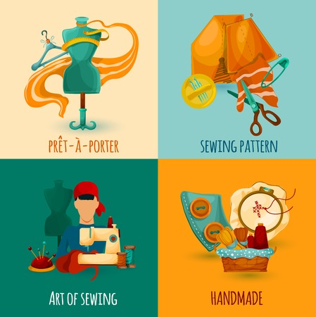 tailoring: Sewing design concept set with handmade art icons isolated vector illustration
