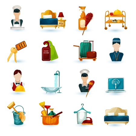 concierge: Hotel maid icons set with room service cleaning and washing symbols isolated vector illustration Illustration