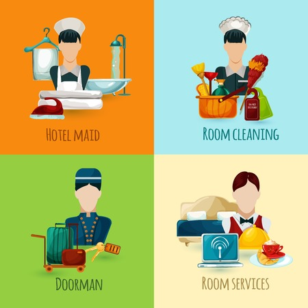 concierge: Hotel maid and doorman design concept set with room cleaning service icons isolated vector illustration