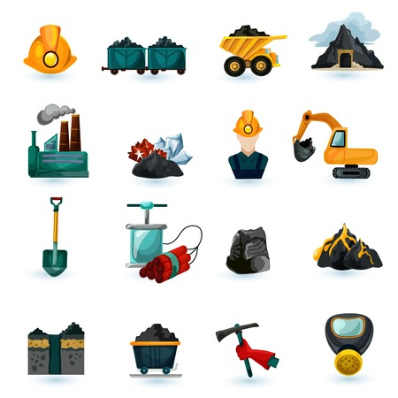 mining equipment: Mining industry gold coal and minerals extraction icons set isolated vector illustration