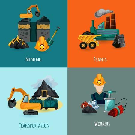 mining: Concepto de diseño de Minería establece con plantas de transporte y de los trabajadores iconos ilustración vectorial aislado