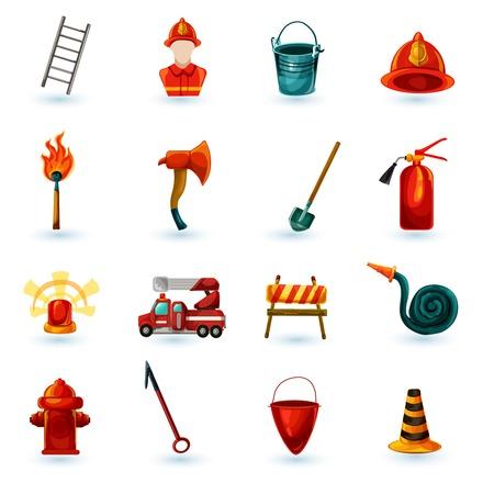 bombero de rojo: Iconos decorativos bombero se establece con la escalera aislados m�scara casco hacha ilustraci�n vectorial