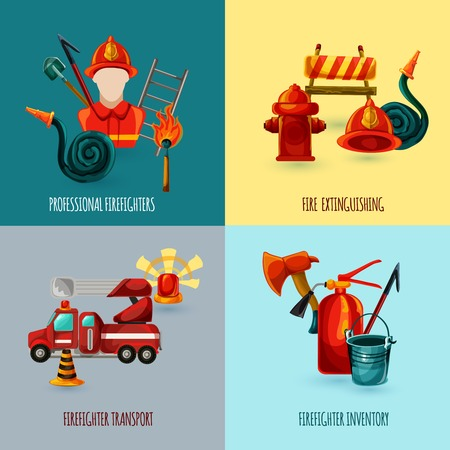 fire extinguisher: Professional firefighter design concept set with transport and inventory icons isolated vector illustration
