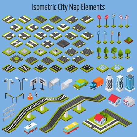 road: Isometric city map road and house construction elements set isolated vector illustration