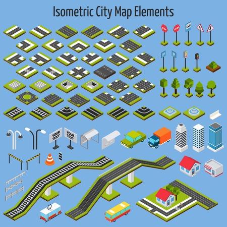 carretera: Mapa de carreteras y construcción de viviendas de la ciudad isométrica elementos de conjunto aislado ilustración vectorial Vectores