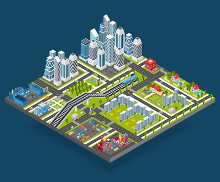 Isometric city with 3d houses manufacture office and store building blocks vector illustration Illustration