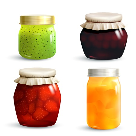 Natural fruit jam preserves jar set with realistic kiwi cherry strawberry and peach marmalade isolated vector illustration Çizim
