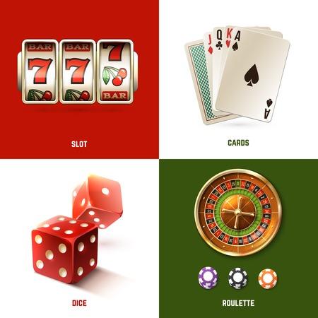 ruleta de casino: Casino concepto de diseño establece con tarjetas de ranura realistas dados y ruleta aislado ilustración vectorial Vectores