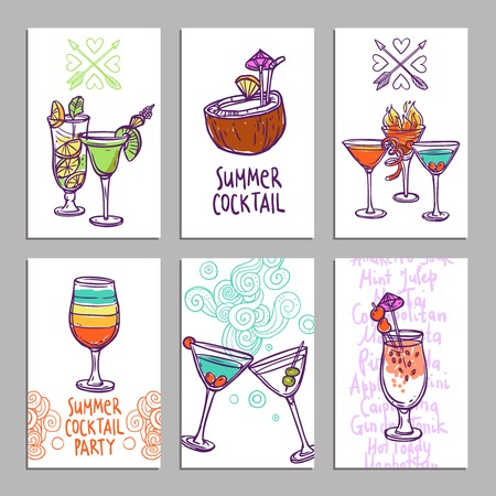 beach bar: Advertising business cards set with hand drawn alcohol cocktails isolated vector illustration Illustration