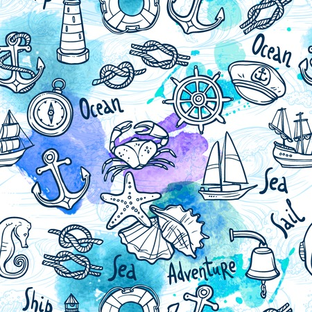 nautical equipment: Nautical equipment and sail ship vacation sketch seamless pattern vector illustration Illustration