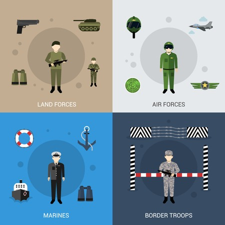 Military design concept set with land air marines forces and border troops flat icons isolated vector illustration