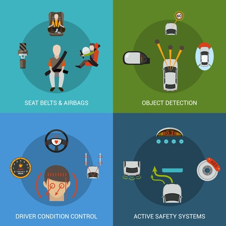 Car safety system design concept set with seat belt airbag object detection driver condition control flat icons isolated vector illustration