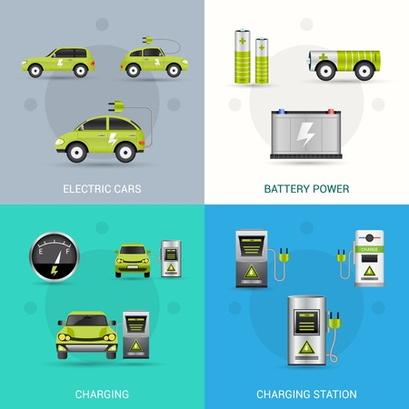 electric vehicles: Electric car design concept set with battery power charging station flat icons isolated vector illustration