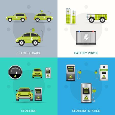 Elektrische auto concept set met geïsoleerde batterij laadstation vlakke pictogrammen vector illustratie