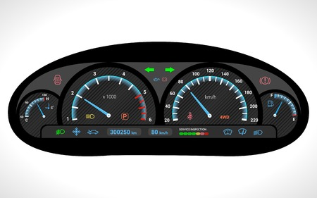 Car dashboard auto speedometer panel isolated on white background vector illustration Vettoriali