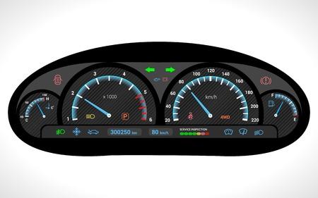 velocimetro: Salpicadero del coche del panel indicador de velocidad automático aislado en fondo blanco ilustración vectorial Vectores