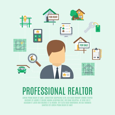 commercial property: Real estate concept with professional realtor avatar and property symbol vector illustration