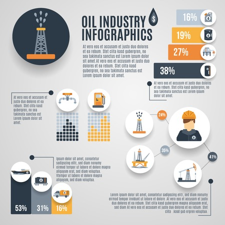 tank ship: Oil industry infographic set with petroleum extraction symbols charts vector illustration