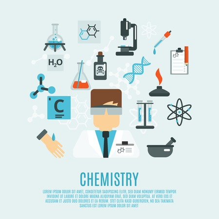 Chemistry science concept with researcher and laboratory flat icons set vector illustration Vector