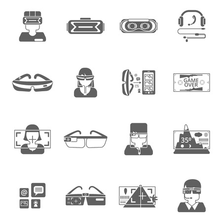 Virtual reality glasses technology black icon set isolated vector illustration Illustration