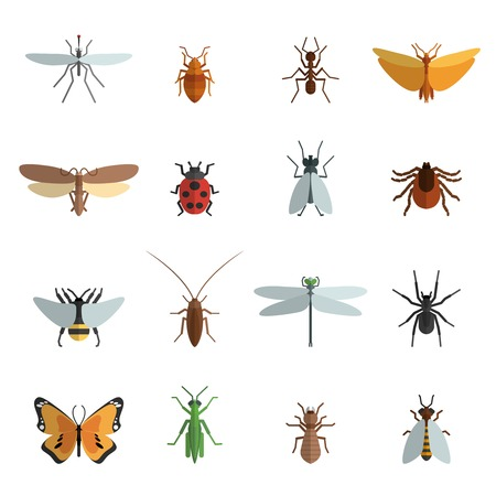 Insect icon flat set met mug sprinkhaan spider mier geïsoleerde vector illustratie Stock Illustratie