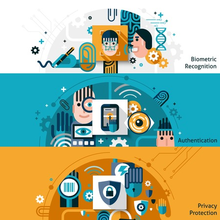retina scan: Biometric authentication horizontal banner set with privacy protection and recognition elements isolated vector illustration Illustration