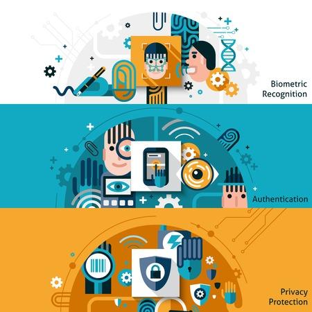 Biometrische authenticatie horizontale banner set met bescherming en erkenning privacy elementen geïsoleerd vector illustratie