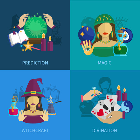 magic book: Fortune teller design concept set with magic prediction witchcraft and divination flat icons isolated vector illustration Illustration
