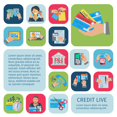 collection: Credit life decorative icons flat set with payment planning financial bills and debt symbols isolated vector illustration Illustration