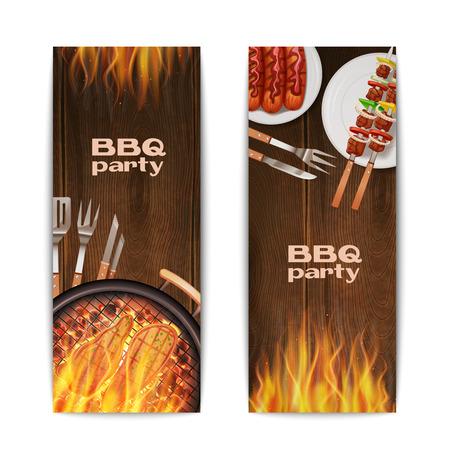 chorizos asados: Banderas verticales partido parrilla establecen con realistas caliente frito en los alimentos de incendios aislados ilustraci�n vectorial