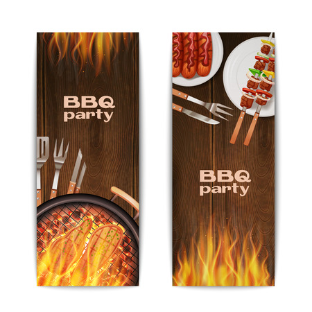 meat on grill: Bbq grill party vertical banners set with realistic hot fried on fire food isolated vector illustration