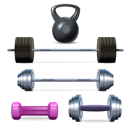 dumbbell: Dumbbells barbells and weight fitness and bodybuilding equipment realistic icons set isolated vector illustration