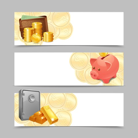 money wallet: Financial banner horizontal set with realistic money wallet safe and piggy bank isolated vector illustration Illustration