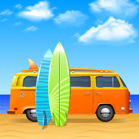 beach side: Retro bus with surf boards on summer sea background vector illustration Illustration