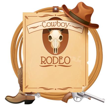 Rodeo retro wilde westen poster met cowboyhoed en laarzen pistool vector illustratie