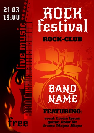 Rock music group concert or festival poster with burning guitar and drums vector illustration