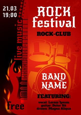 concierto de rock: La música rock concierto grupo o cartel del festival con la guitarra ardiente y tambores ilustración vectorial Vectores