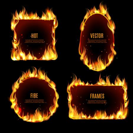 objetos cuadrados: Llama marco fuego caliente Varios establecido en el fondo negro con el texto central ilustración vectorial.