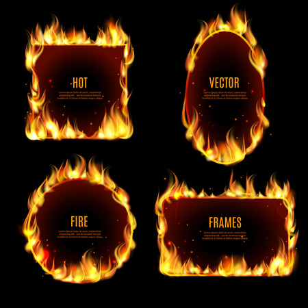 Various hot fire flame frame set on the black background with center text isolated vector illustration. Vettoriali
