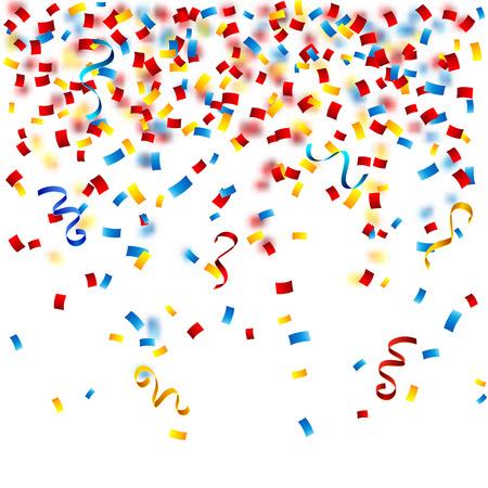 Kleurrijke partij achtergrond met confetti op de witte vector illustratie