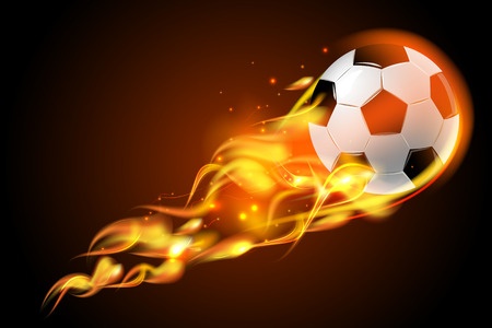 fireballs: Realistic color soccer ball fire for football on black background poster vector illustration