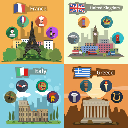 Historical landmarks sightseeing tours to greece france england and italy flat icons composition poster abstract vector illustration