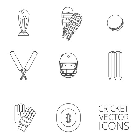 outlined isolated: Cricket equipment icons set with keeping gloves and winner trophy sketch abstract black outlined isolated vector illustration