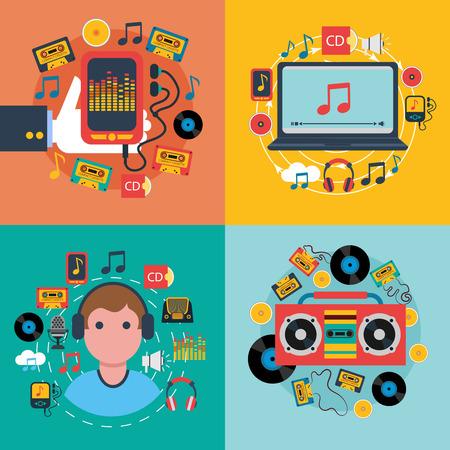 musica electronica: Música móvil Tablet aplicaciones concepto 4 composición iconos plana con reproductor de cassette cd abstracto aislado ilustración vectorial