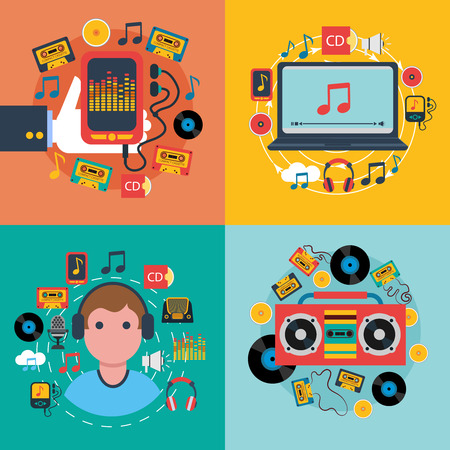 electronic music: Tablet mobile music apps concept 4 flat icons composition with cd cassette player abstract isolated vector illustration
