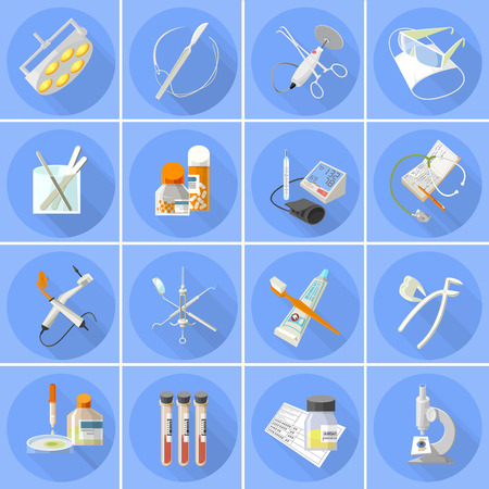 extracting: Medical health care instruments and accessories flat icons set with thermometer and stethoscope abstract isolated vector illustration