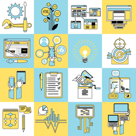 eliminating: Seo search engine optimization pictograms collection  with mobile keywords for errors eliminating abstract line isolated vector illustration